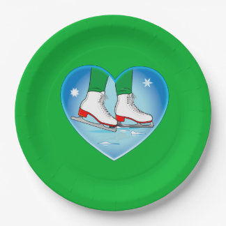 Ice Skates at Christmas Paper Plate