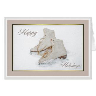 Ice skates holiday greeting card