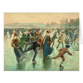 Ice Skating 1885 Card