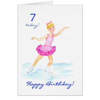 Ice-skating 7th Birthday Card for a Girl