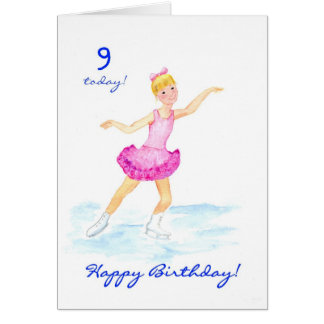 Ice-skating 9th Birthday Card for a Girl Greeting Card