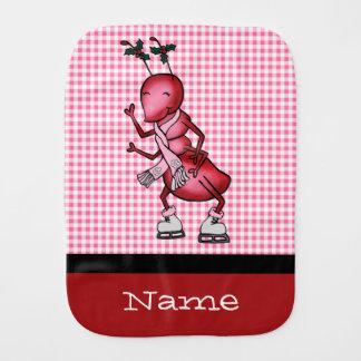 Ice Skating Ant Burp Cloth, Custom Name Template Burp Cloth