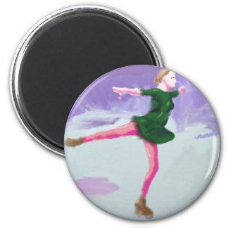 Ice Skating Art 6 Cm Round Magnet
