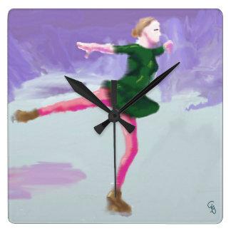 Ice Skating Art Square Wall Clock