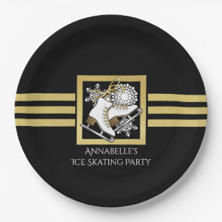 Ice Skating Birthday | Christmas Party Modern Chic 9 Inch Paper Plate