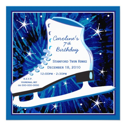 Ice Skating Birthday Invitation in Blue