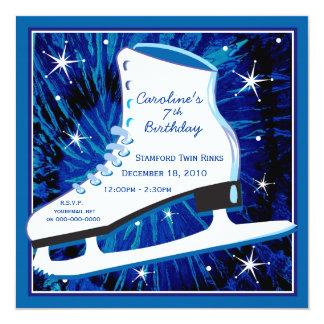 Ice Skating Birthday Invitation in Blue