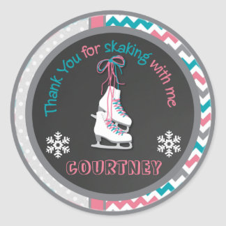 Ice Skating Birthday Party Thank You Favor Tag Round Sticker