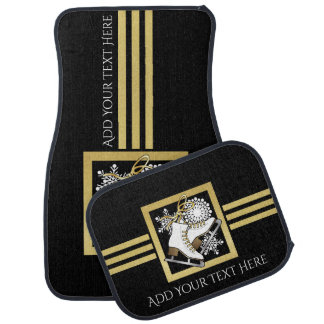 Ice Skating Black Gold Modern Chic Personalized Floor Mat