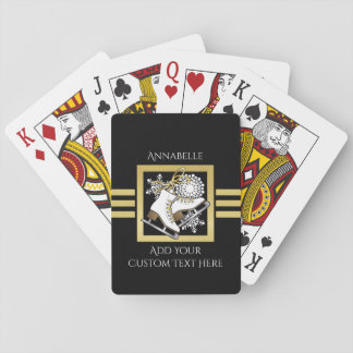 Ice Skating Black Gold Modern Chic Personalized Playing Cards