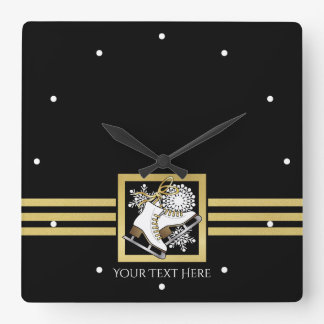 Ice Skating Black Gold Modern Chic Personalized Square Wall Clock