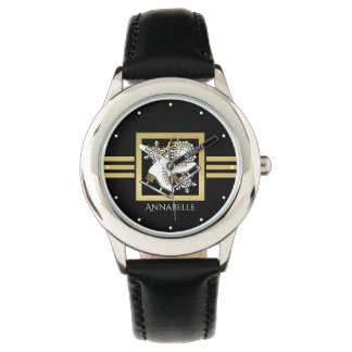 Ice Skating Black Gold Modern Chic Personalized Watches