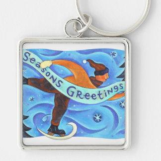 Ice Skating Boy in Blue Season's Greetings Winter Key Chain