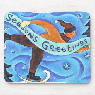 Ice Skating Boy in Blue Season's Greetings Winter Mousepad