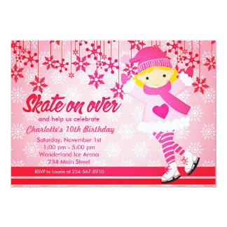 Ice Skating Bright Pink Girly Party Card