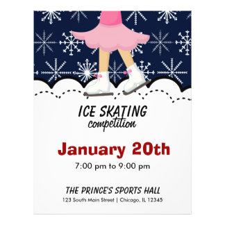 Ice Skating Competition (Dark Blue) 21.5 Cm X 28 Cm Flyer