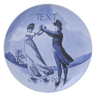 Ice Skating  Couple,  Date, Add Text Plate