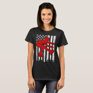 ICE SKATING  FLAG AMERICAN T-Shirt