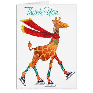 Ice Skating Giraffe with Scarf Thanks Card