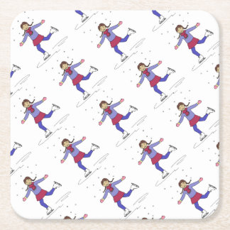 Ice Skating Girl Figure Skater Birthday Party Square Paper Coaster