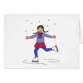 Ice Skating Girl Figure Skater Card