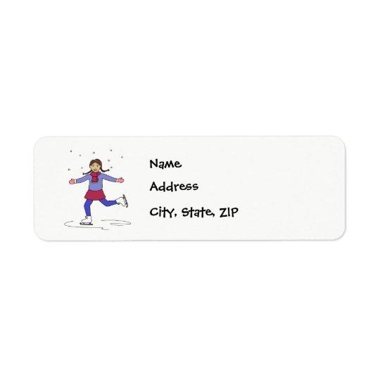 Ice Skating Girl Figure Skater Return Address Label