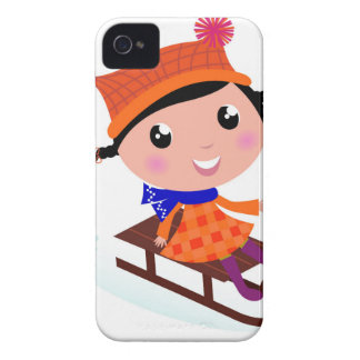 Ice skating girl Orange Case-Mate iPhone 4 Cases