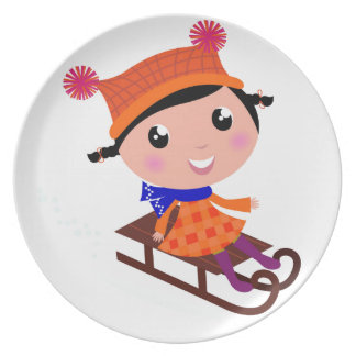 Ice skating girl Orange Plate