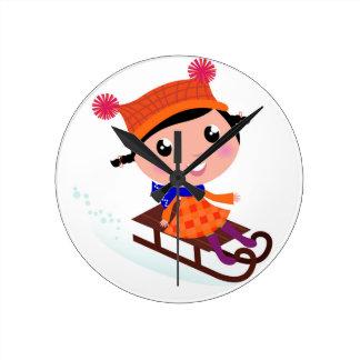 Ice skating girl Orange Round Clock