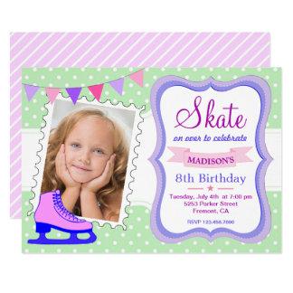Ice Skating Girls Photo Birthday Party Invitation