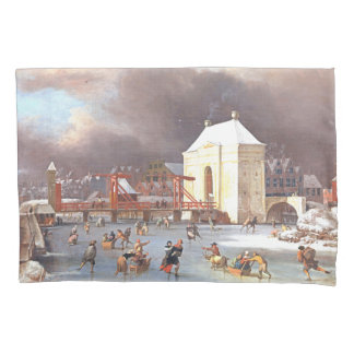 Ice Skating Holy Way Holland Winter Fun Pillowcase
