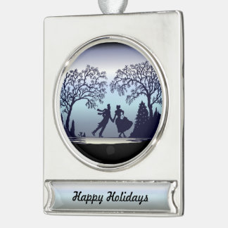 Ice Skating in the Park - Silhouette Silver Plated Banner Ornament