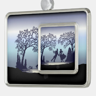 Ice Skating in the Park - Silhouette Silver Plated Framed Ornament