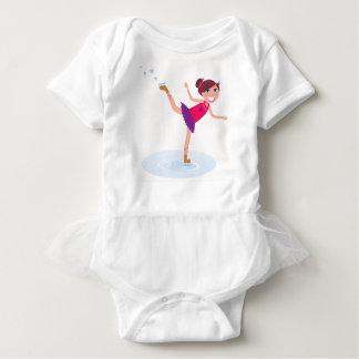 Ice skating kid on white baby bodysuit