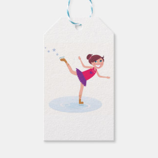 Ice skating kid on white gift tags