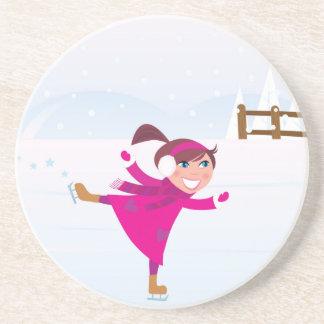 Ice skating kid pink coaster