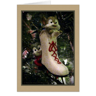 Ice Skating Mice Ornament Card