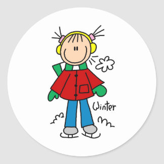 Ice Skating On A Cold Winter Day Sticker