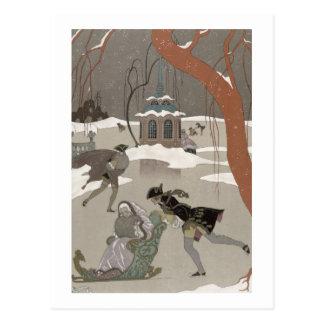 Ice Skating on the Frozen Lake,  illustration for Postcard