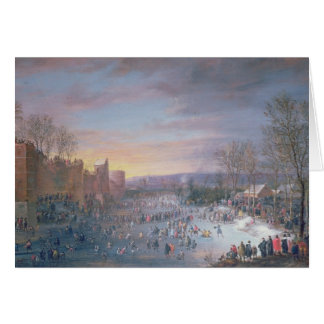 Ice Skating on the Stadtgraben in Brussels, 1649 Card