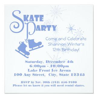 Ice Skating Party 13 Cm X 13 Cm Square Invitation Card