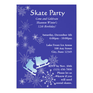 Ice Skating Party 13 Cm X 18 Cm Invitation Card