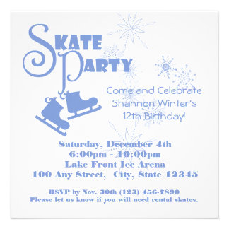 Ice Skating Party Personalized Invite