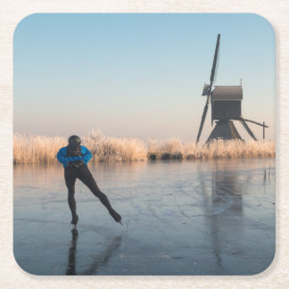 Ice skating past windmill and reeds coaster