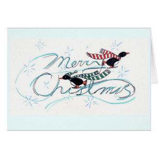 Ice Skating Penguins' Christmas Card