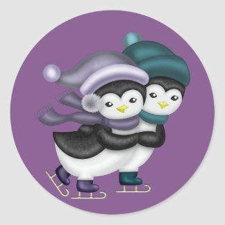 Ice Skating Penguins Classic Round Sticker