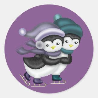 Ice Skating Penguins Round Sticker