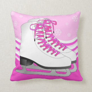Ice Skating Pink with Snowflakes Reversible Cushion