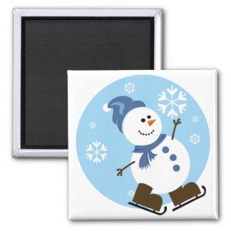 Ice Skating Snowman Magnet