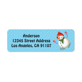 Ice Skating Snowman Return Address Labels